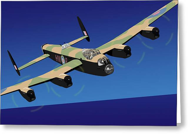 Raf Greeting Cards - Avro Lancaster Bomber Greeting Card by Michael Tompsett