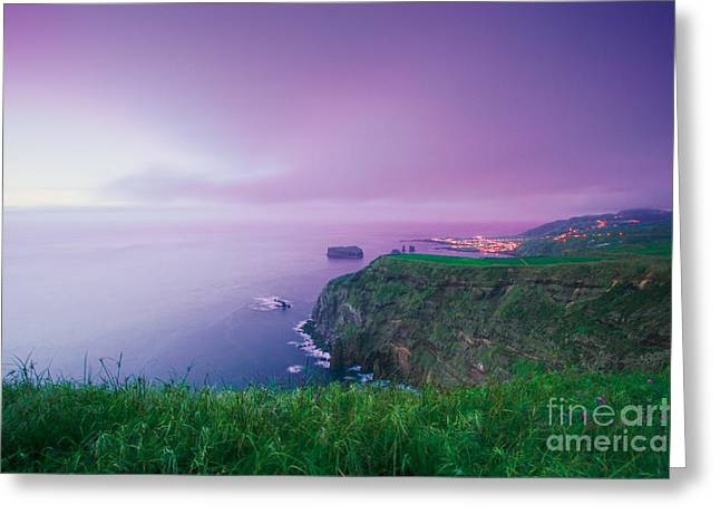 Azoren Greeting Cards - Azores coastal landscape Greeting Card by Gaspar Avila