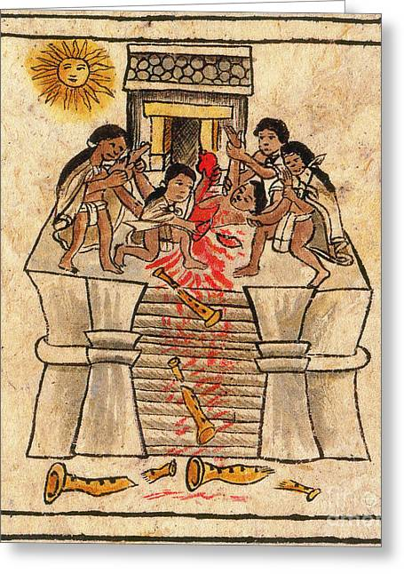 The Thing Greeting Cards - Aztec Human Sacrifice Codex Greeting Card by Photo Researchers