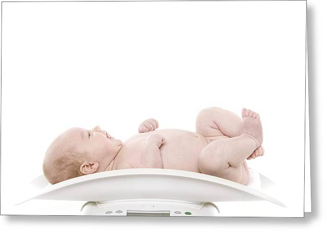 Diaper Greeting Cards - Baby Being Weighed Greeting Card by