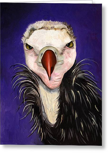 Baby Bird Greeting Cards - Baby Vulture Greeting Card by Leah Saulnier The Painting Maniac