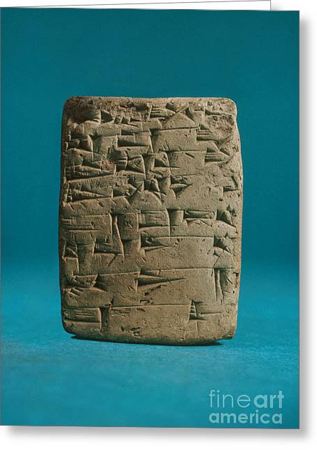 Babylonia Greeting Cards - Babylonian Clay Tablet Greeting Card by Science Source