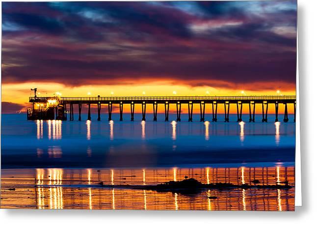 Nahmias Greeting Cards - Bacara Haskells  Beach and pier Santa Barbara  Greeting Card by Eyal Nahmias