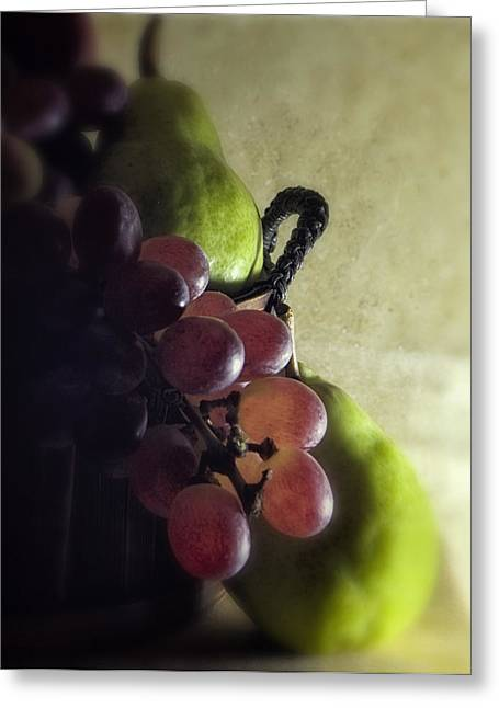 Pear Art Greeting Cards - Back lit Grape Still Life Greeting Card by Andrew Soundarajan