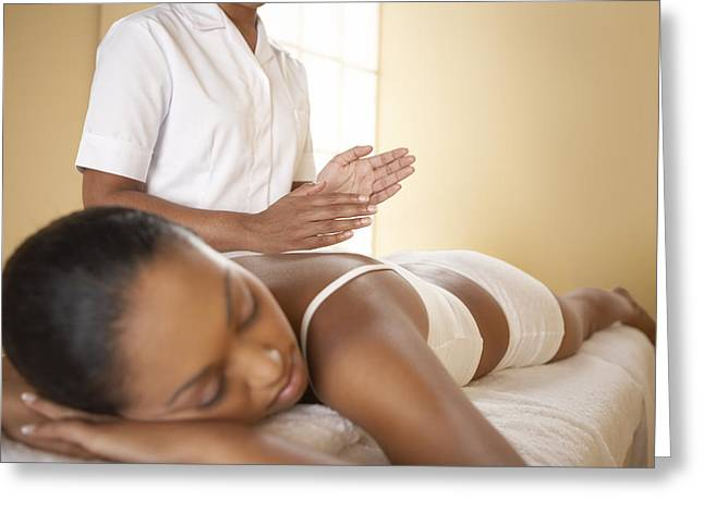 Wellbeing Greeting Cards - Back Massage Greeting Card by Adam Gault