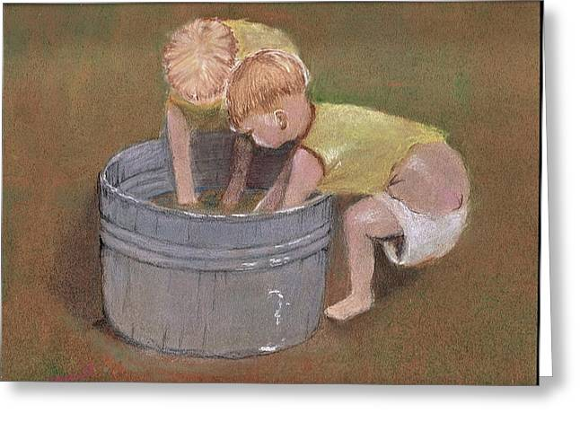 Friendship Pastels Greeting Cards - Back Yard Pool Greeting Card by  David Willingham