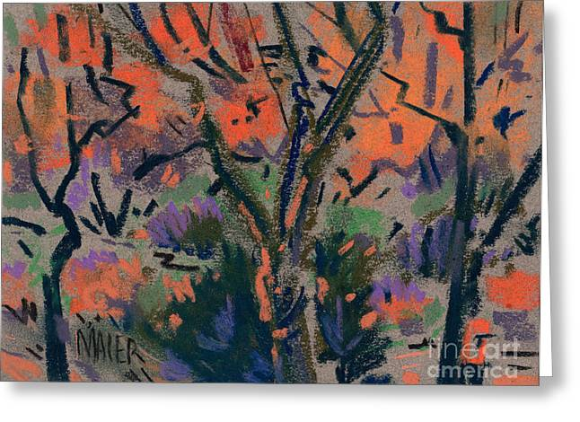 Fall Trees Greeting Cards - Backyard in Autumn Greeting Card by Donald Maier