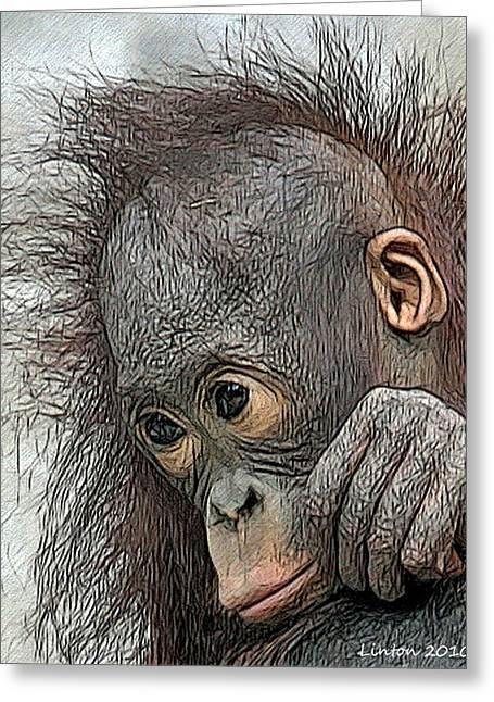 Orangutan Greeting Cards - Bad Hair Day Greeting Card by Larry Linton