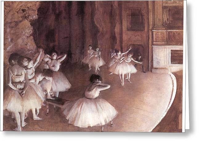 Dancer Rehearsal Greeting Cards - Ballet rehearsal on the Stage Greeting Card by Edgar Degas