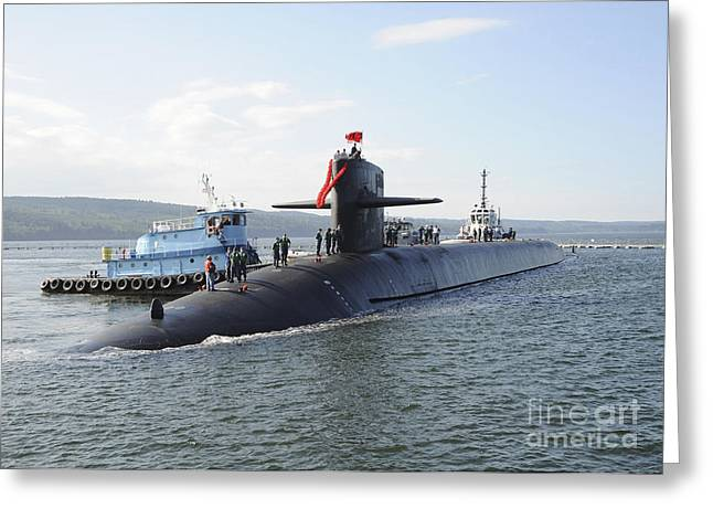 Emergence Greeting Cards - Ballistic Missile Submarine Uss Greeting Card by Stocktrek Images