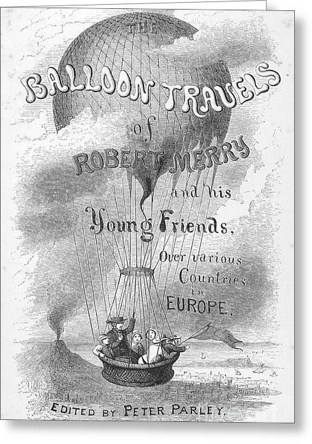Titlepage Greeting Cards - Balloon Travels, 1855 Greeting Card by Granger