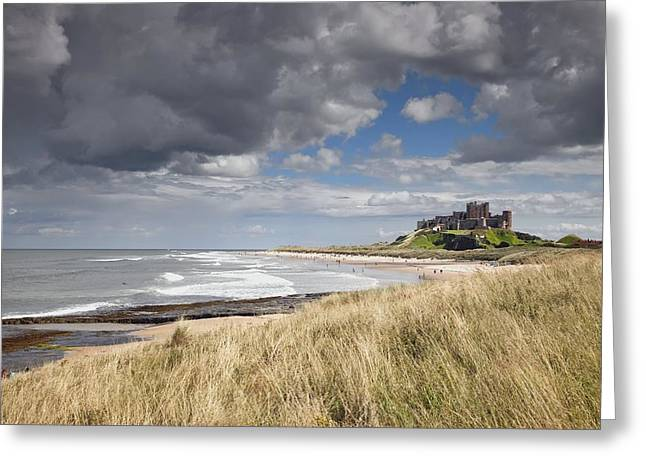 Sea Grass In The Sand Greeting Cards - Bamburgh Castle Northumberland, England Greeting Card by John Short