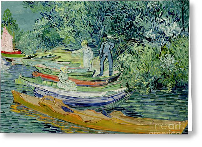 Punting Greeting Cards - Bank of the Oise at Auvers Greeting Card by Vincent Van Gogh