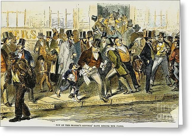 Bank Panic Greeting Cards - Bank Panic: 1857 Greeting Card by Granger
