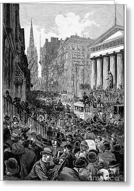 Bank Panic Greeting Cards - Bank Panic, 1884 Greeting Card by Granger