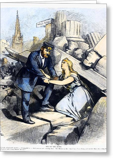 Nast Greeting Cards - Bank Panic Cartoon, 1873 Greeting Card by Granger