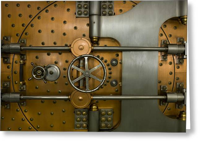 Enterprise Photographs Greeting Cards - Bank Vault Door Exterior Greeting Card by Adam Crowley