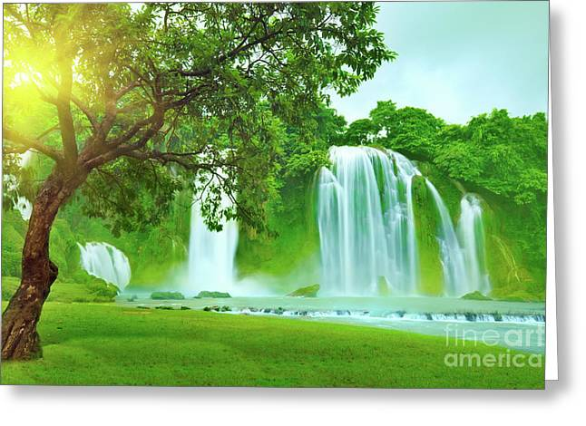 Detian Greeting Cards - Banyue waterfall Greeting Card by MotHaiBaPhoto Prints