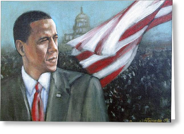 Etc. Paintings Greeting Cards - Barack Obama Greeting Card by Howard Stroman