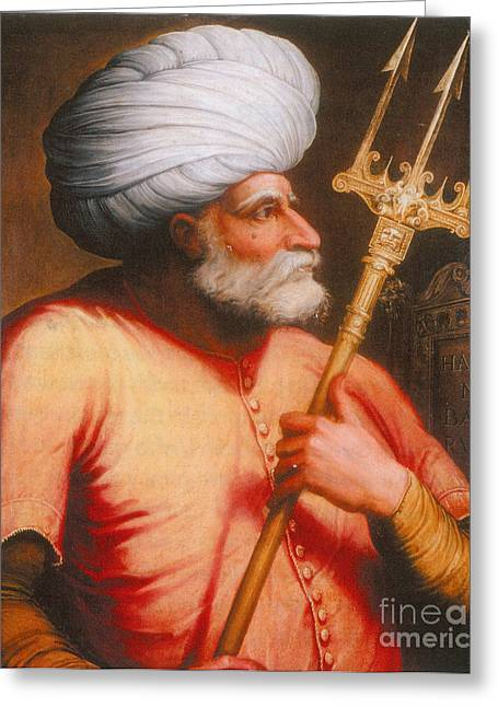 Male Dominated Greeting Cards - Barbarossa, Ottoman Turkish Admiral Greeting Card by Photo Researchers