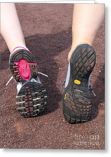 Running Shoe Greeting Cards - Barefoot Running Shoe And Normal Greeting Card by Photo Researchers, Inc.