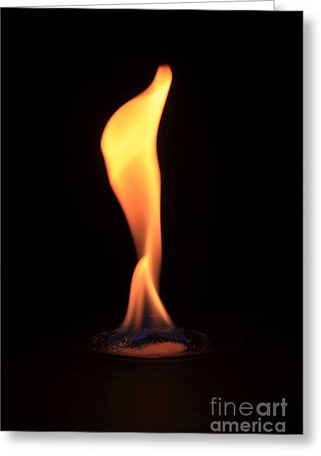 Flame Test Greeting Cards - Barium Copperii Chloride Flame Test Greeting Card by Ted Kinsman