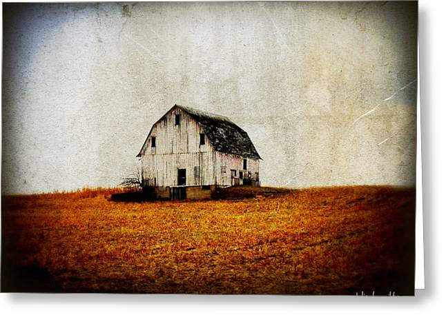 Painted Wood Greeting Cards - Barn on the Hill Greeting Card by Julie Hamilton