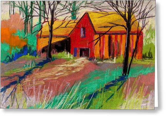 Red Roofed Barn Drawings Greeting Cards - Barns Against a Pale Sky Greeting Card by John  Williams