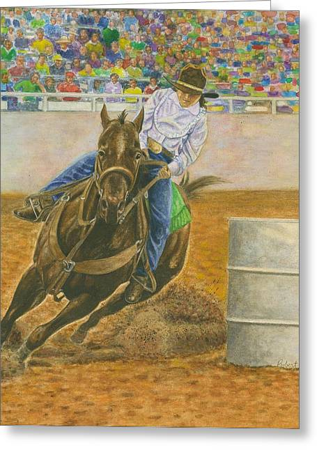 Barrel Pastels Greeting Cards - Barrel Racing Greeting Card by Robert Casilla