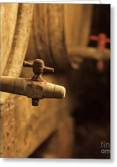 Cellar Greeting Cards - Barrels of wine in a wine cellar. France Greeting Card by Bernard Jaubert