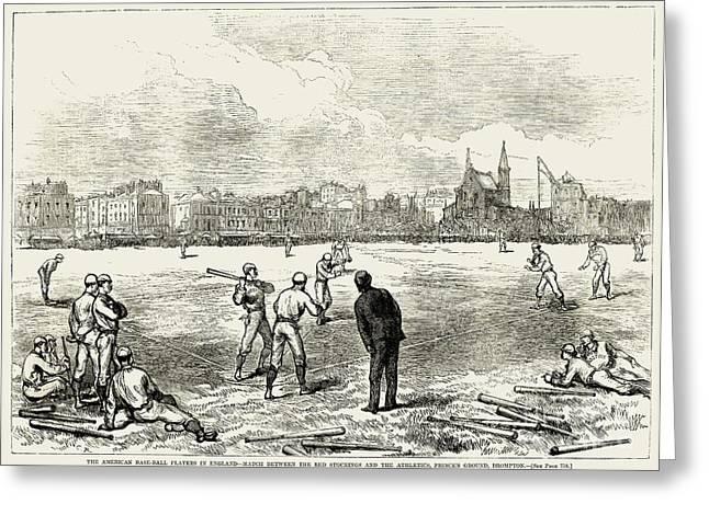 1874 Greeting Cards - Baseball: England, 1874 Greeting Card by Granger