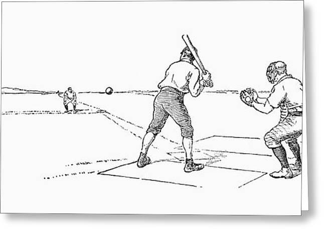 Engraving Greeting Cards - Baseball Game, 1889 Greeting Card by Granger