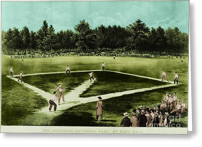 Knicks Greeting Cards - Baseball In 1846 Greeting Card by Omikron