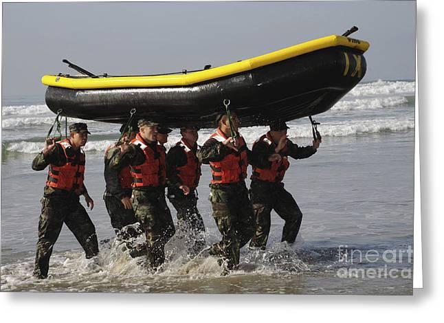 Inflatable Raft Greeting Cards - Basic Underwater Demolitionseal Greeting Card by Stocktrek Images