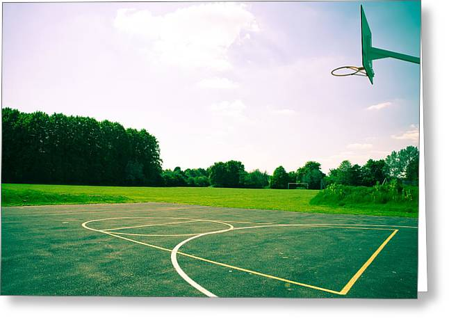 Goal Line Greeting Cards - Basketball Court Greeting Card by Tom Gowanlock