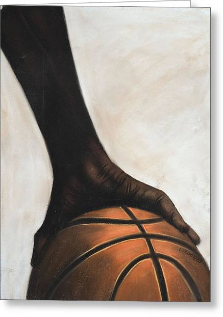Basketball Pastels Greeting Cards - Basketball Greeting Card by L Cooper
