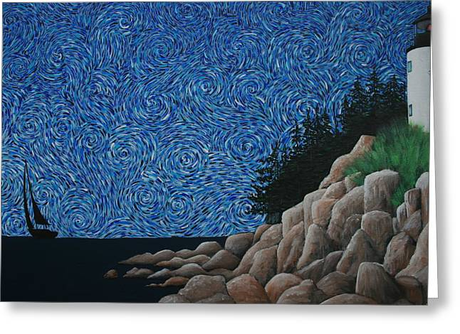 Blue Sea Print Greeting Cards - Bass Harbor Lighthouse Greeting Card by Nick Flavin