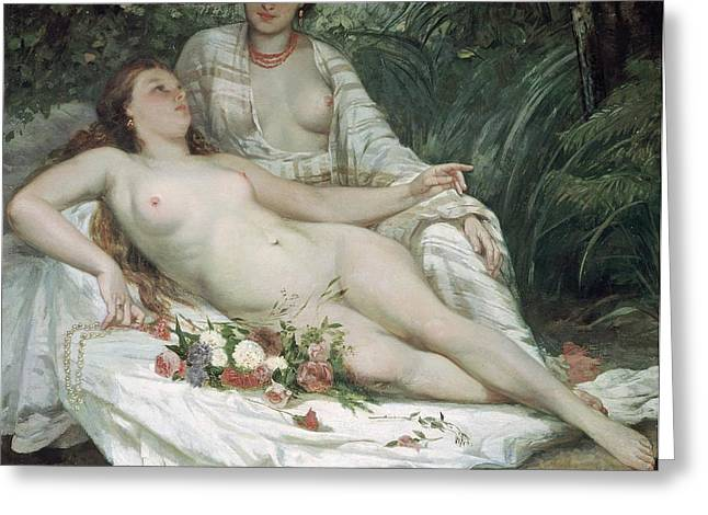 Odalisque Greeting Cards - Bathers or Two Nude Women Greeting Card by Gustave Courbet