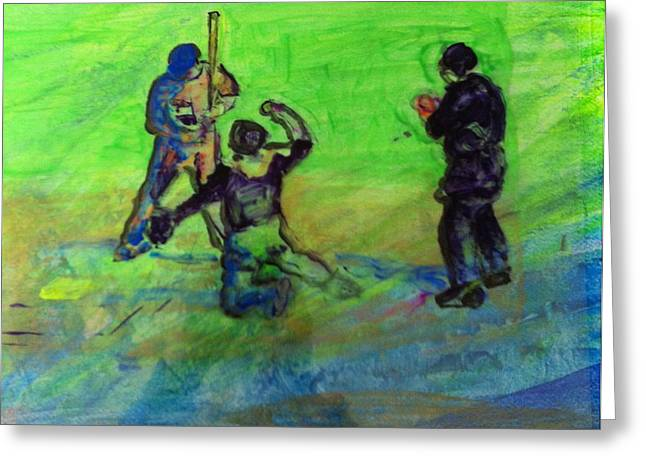 Batter Paintings Greeting Cards - Batter UP Greeting Card by Gail Eisenfeld