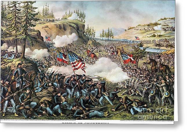 Confederate Flag Greeting Cards - Battle Of Chickamauga 1863 Greeting Card by Granger