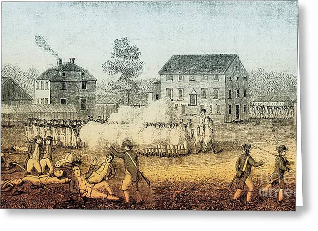 Lexington And Concord Greeting Cards - Battle Of Lexington, 1775 Greeting Card by Photo Researchers