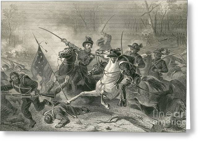 Pittsburgh Artwork. Greeting Cards - Battle Of Shiloh, Charge Of General Greeting Card by Photo Researchers