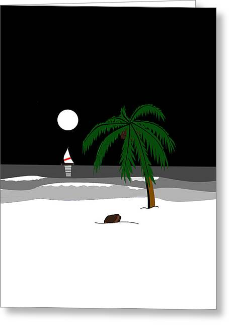 Sailing At Night Greeting Cards - Beach at Night Black and White Greeting Card by Rolyat Art