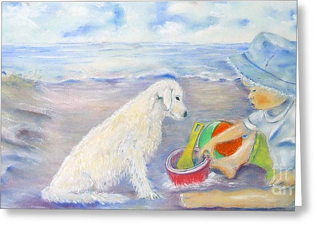 People Pastels Greeting Cards - Beach Boy Greeting Card by Loretta Luglio