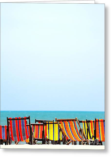 Idling Greeting Cards - Beach chairs colorful Greeting Card by Panupong Roopyai