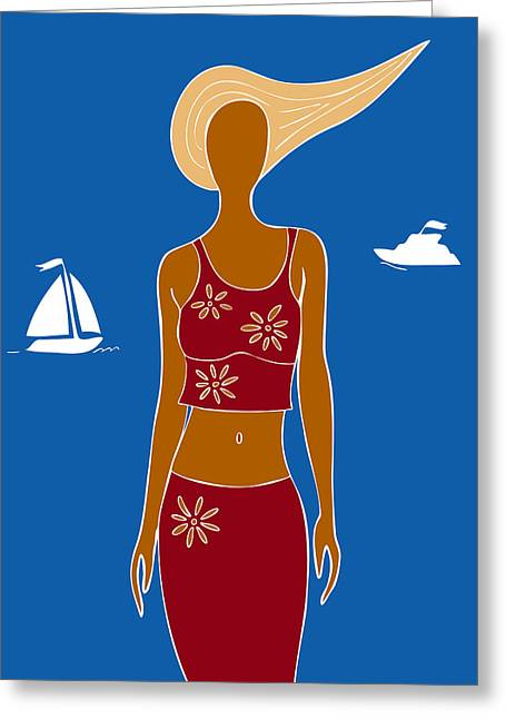 Swimsuits Swimming Costumes Greeting Cards - Beach Days Greeting Card by Frank Tschakert