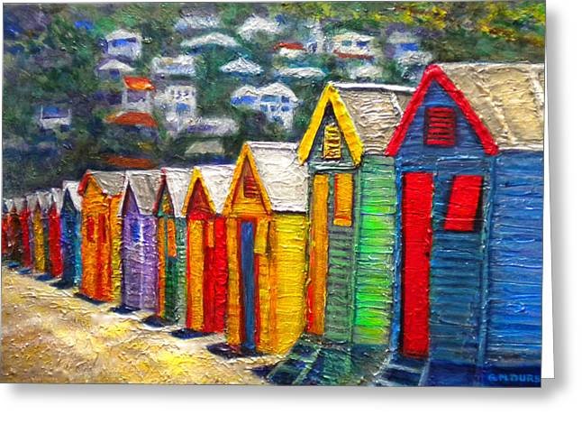 Cape Town Paintings Greeting Cards - Beach Houses at Fish Hoek Greeting Card by Michael Durst