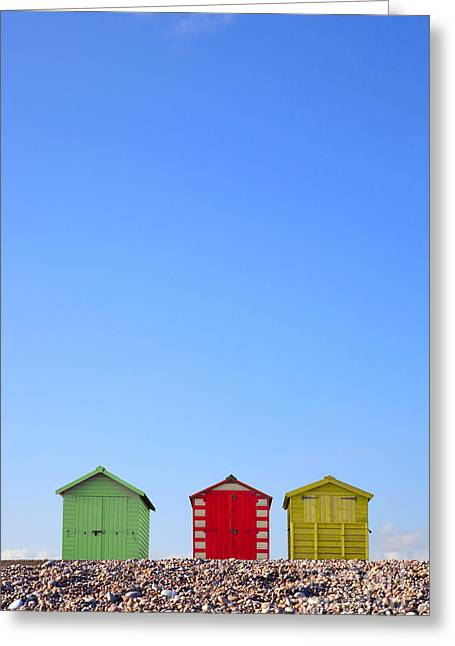 Recently Sold -  - Cubicle Greeting Cards - Beach huts and blue sky Greeting Card by Richard Thomas