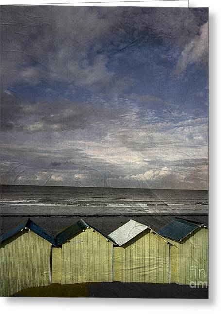 Little Cabin Greeting Cards - Beach huts under a stormy sky vintage-look. Normandy. France Greeting Card by Bernard Jaubert