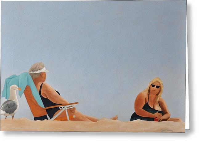Santa Cruz Paintings Greeting Cards - Beach Ladies Greeting Card by Rick Jamison
